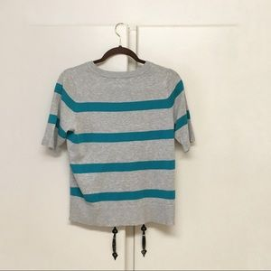 Lyn Sweaters - Lyn Blue and Gray Striped Sweater Cardigan